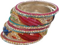 Jaipuria Gliter Metal Crystal Silver Plated Bangle Set Pack Of 6