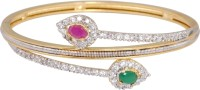 Crunchy Fashion Pink-Green AD Bracelet Alloy Cubic Zirconia Rose Gold Bracelet
