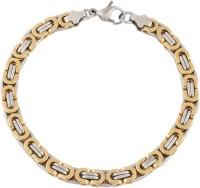 The Jewelbox Two Tone Byzantine Sleek Stainless Steel Yellow Gold Plated Bracelet