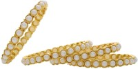 Pearls Cart Alloy Yellow Gold Bangle Set (Pack Of 4)