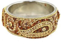 The Fine World Brown Broad Kada With The Traditional Ambi Pattern Finished Metal Zircon Silver Plated Bangle