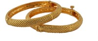 Adwitiya Collection Golden Charm Copper Yellow Gold Plated Bangle Set Pack Of 2