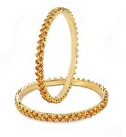 VK Jewels Charming Yellow Stones Alloy 18K Yellow Gold Plated Bangle Set Pack Of 2