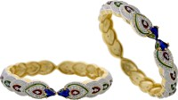 Hyderabad Jewels Alloy, Silver Zircon? Rhodium Bangle Set (Pack Of 2)