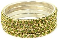 The Fine World Set Of Shining Golden And Olive Green Chudi Metal Zircon Brass Plated Bangle Set Pack Of 4