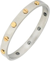 The Jewelbox Bio Magnetic Screw Openable Kada Stainless Steel Silver Plated Bracelet