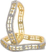 Hyderabad Jewels Beautiful Alloy, Silver Zircon Rhodium Plated Bangle Set Pack Of 2