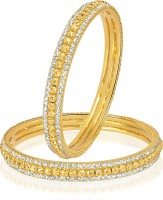 VK Jewels Alloy 18K Yellow Gold Plated Bangle Set Pack Of 2