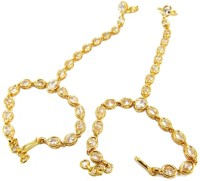 9blings Hf9 Alloy Cubic Zirconia Yellow Gold Plated Ring Bracelet Pack Of 2