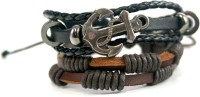 Streetsoul Anchor Leather Bracelet Set Pack Of 2