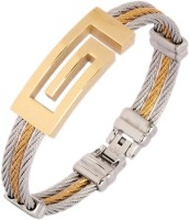 The Jewelbox Geometric Openable Free Size Stainless Steel Yellow Gold Plated Kada