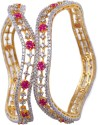 Swarnaratnam Austrian Diamond Silver Bangle Set - Pack Of 2