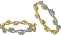Prisha Elegant Golden Alloy 18K Yellow Gold Plated Bangle Set Pack Of 2