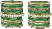 Muchmore Beautiful Bollywood Design Green Colour Pearl Stone Fashion Wedding Wear Bangle Jewelry Set Of 50 Alloy Pearl Bangle Set Pack Of 50