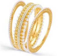 Sukkhi Wavy Moti Alloy 18K Yellow Gold Plated Bangle Set Pack Of 3
