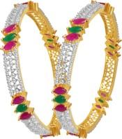 American Diamond Beautiful Copper, Brass Diamond, Ruby, Emerald Rhodium, 18K Yellow Gold Plated Bangle Set Pack Of 2