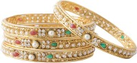 Aaina Fancy Copper Yellow Gold Bangle Set (Pack Of 4)
