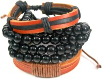 Streetsoul Beads Black Leather Bracelet Set Pack Of 3