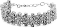 Voylla Artifictial Classic Textured Alloy Silver Plated Bracelet