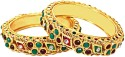 Surat Diamond Traditional Rajasthani Polki Patlas Metal Bangle - Pack Of 2
