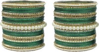 Muchmore Beautiful Design Bottle Green Colour Stone Fashion Wedding Wear Jewelry Set Of 50 Alloy Pearl Bangle Set Pack Of 50
