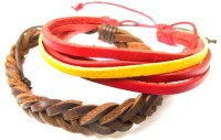 Pllanet Gold Bollywood Style Leather Bracelet Set (Pack Of 2)