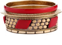 Trinketbag Red And Golden Marshalled Alloy Bangle Set
