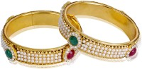 Shining Diva Ethnic Alloy Yellow Gold Plated Bangle Set (Pack Of 2)