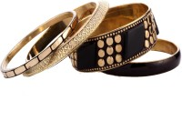 Trinketbag Black And Golden Marshalled Alloy Bangle Set