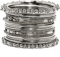 Bindhani Antique Brass Black Silver Plated Bangle Set Pack Of 20