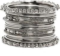 Bindhani Antique Brass Black Silver Plated Bangle Set Pack Of 20