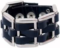 VR Designers Black Buckle Design Wrist Band Metal Bracelet
