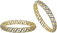 Hyderabad Jewels Alloy, Silver Zircon Rhodium Bangle Set (Pack Of 2)