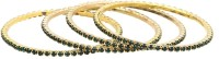 Gold & More Gold Plated Emerald Green Stones Alloy Emerald Yellow Gold Plated Bangle Set Pack Of 4