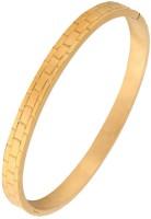 The Jewelbox Glossy Bricks Free Size Kada Stainless Steel Yellow Gold Plated Bracelet