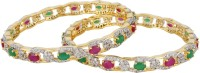Affinity Exquisite Green Red Stone CZ Studded Alloy, Silver Cubic Zirconia, Emerald, Ruby 22K Yellow Gold Plated Bangle Set Pack Of 2