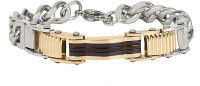 The Jewelbox Two Tone Curb Stainless Steel Yellow Gold Plated Bracelet