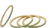 Prisha Elegant Golden Alloy 18K Yellow Gold Plated Bangle Set Pack Of 4