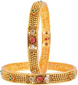 Alysa Copper Ruby 18K Yellow Gold, Rhodium Bangle Set