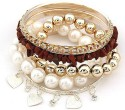 Crunchy Fashion Stone And Pearl Banges Set Alloy Bangle Set - Pack Of 5