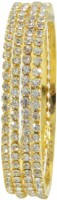Gold & More Gold Plated Diamond Copper Cubic Zirconia Yellow Gold Plated Bangle Set Pack Of 4