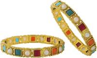 Hyderabad Jewels Copper Pearl Rhodium Bangle Set Pack Of 2