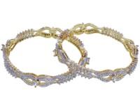 Shonajewels Alloy Cubic Zirconia Rhodium Bangle Set Pack Of 2 - BBAEE5VPHFZNHTZK