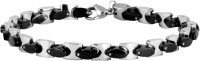 The Jewelbox Stainless Steel Black Silver Bracelet