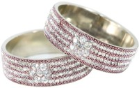 The Fine World Broad Kadas In White Stones And Cooper Beads Metal Zircon Silver Plated Bangle Pack Of 2
