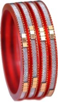 Ratnakar Red Shining Silver Alloy Alloy Bangle Set Pack Of 4