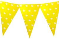 Planet Jashn Planet Jashn Heart Printed Buntings - Yellow Pennant Flag (8 Ft, Pack Of 1)