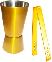 King International Golden Coloured Bar Tool Set Of 2 - Jigger And Tong 2 - Piece Bar Set (Stainless Steel)