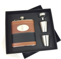 KARP Black & Brown 7oz Leather Wrapped Stainless Steel 304 Hip Flask / 2 Shot Glass / 1 Funnel Set 4 - Piece Bar Set (Stainless Steel)