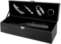 True Vino Faux Leather Black Wine Tools Set 1 - Piece Bar Set (Steel)